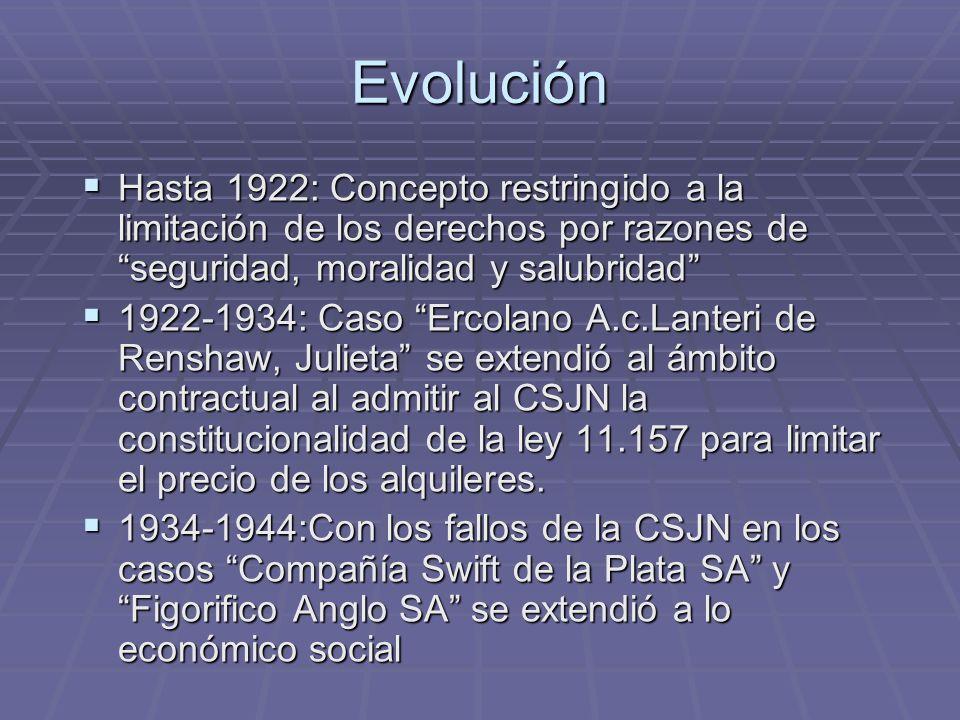 Evolución Hasta 1922: Concepto restringido a la limitación de los derechos por razones de seguridad, moralidad y salubridad
