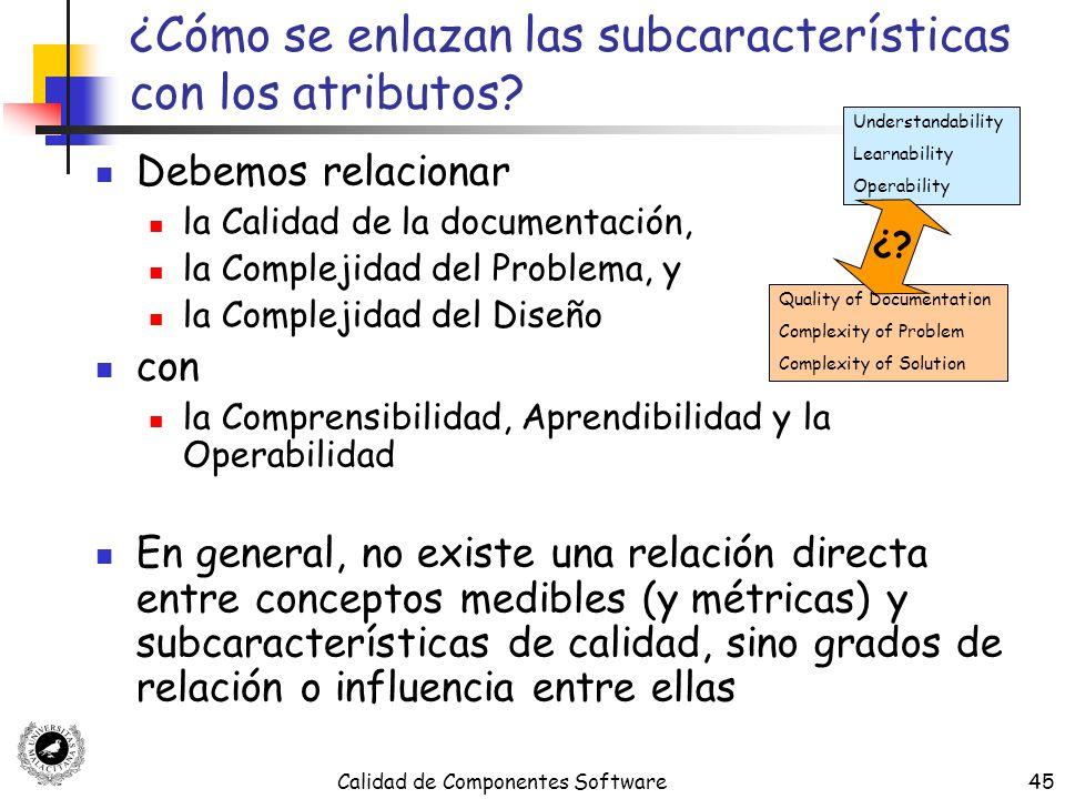 ¿Cómo se enlazan las subcaracterísticas con los atributos