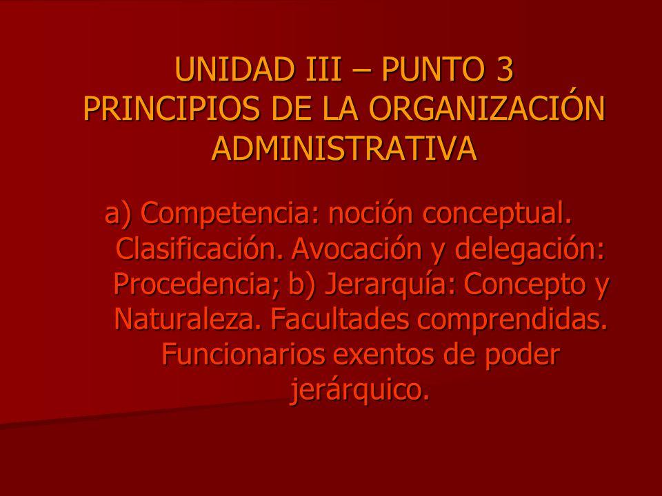 UNIDAD III – PUNTO 3 PRINCIPIOS DE LA ORGANIZACIÓN ADMINISTRATIVA