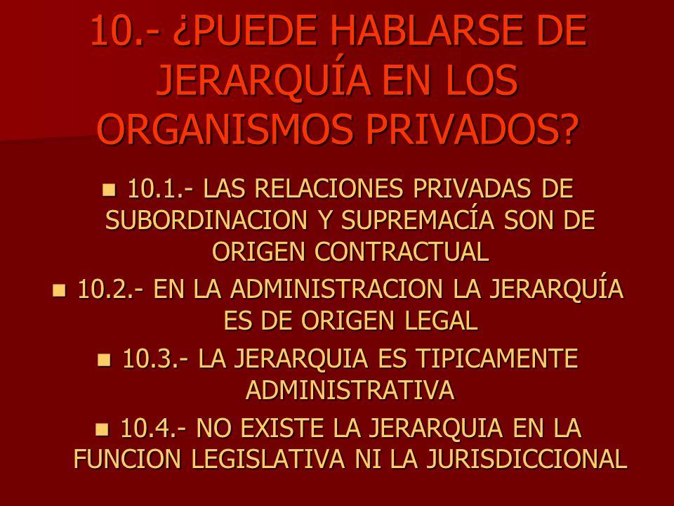 10.- ¿PUEDE HABLARSE DE JERARQUÍA EN LOS ORGANISMOS PRIVADOS