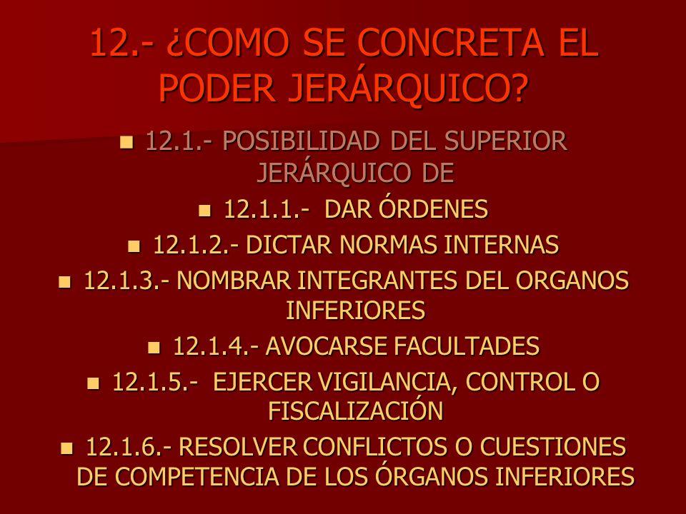 12.- ¿COMO SE CONCRETA EL PODER JERÁRQUICO