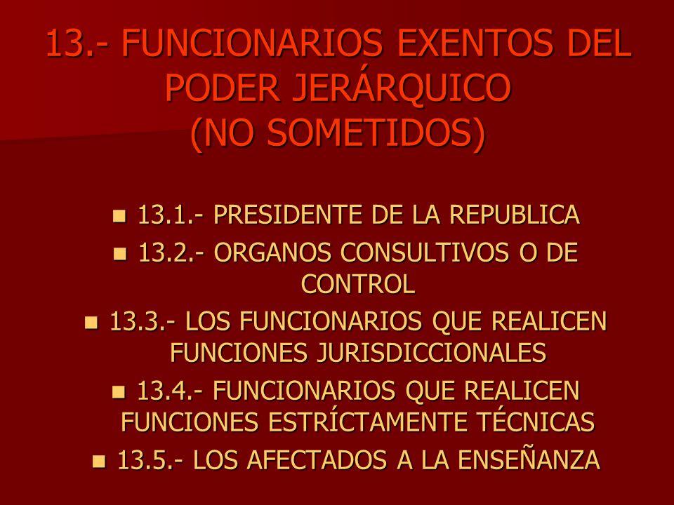 13.- FUNCIONARIOS EXENTOS DEL PODER JERÁRQUICO (NO SOMETIDOS)
