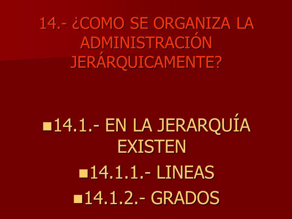 14.- ¿COMO SE ORGANIZA LA ADMINISTRACIÓN JERÁRQUICAMENTE