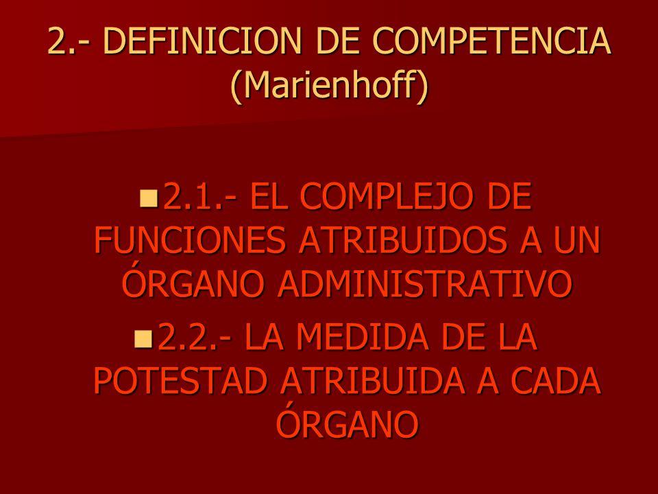 2.- DEFINICION DE COMPETENCIA (Marienhoff)
