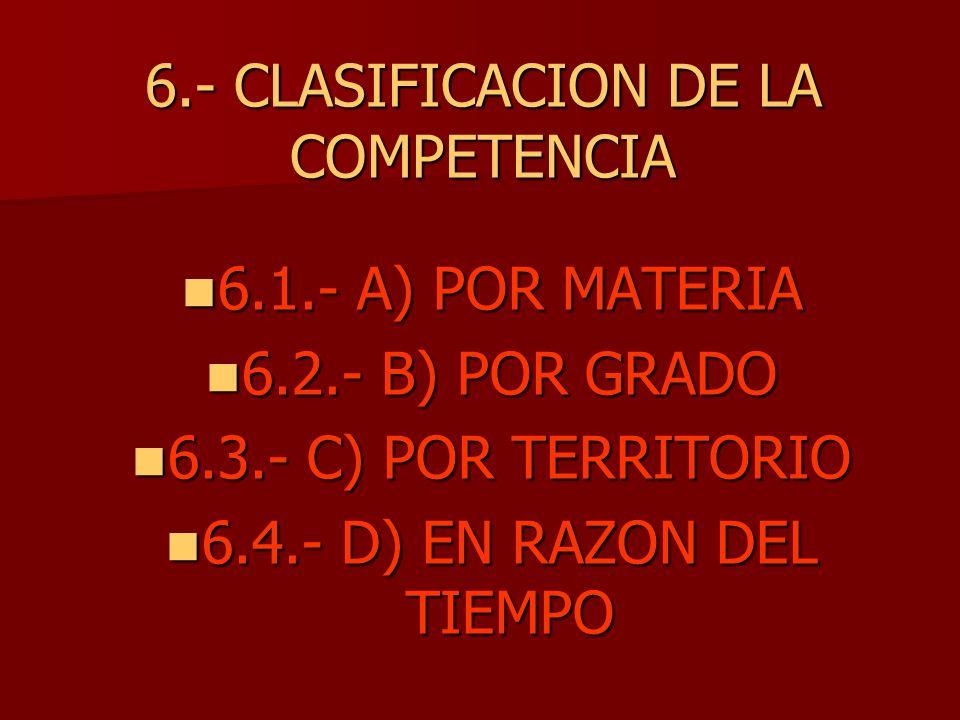 6.- CLASIFICACION DE LA COMPETENCIA
