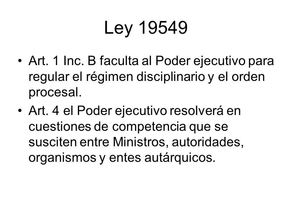 Ley 19549 Art. 1 Inc. B faculta al Poder ejecutivo para regular el régimen disciplinario y el orden procesal.