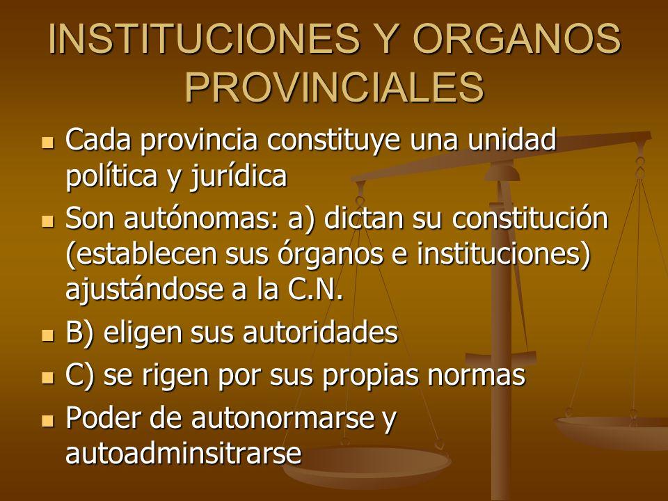 INSTITUCIONES Y ORGANOS PROVINCIALES