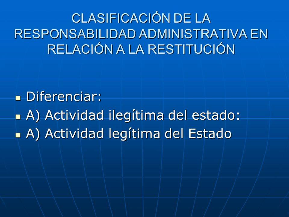 CLASIFICACIÓN DE LA RESPONSABILIDAD ADMINISTRATIVA EN RELACIÓN A LA RESTITUCIÓN