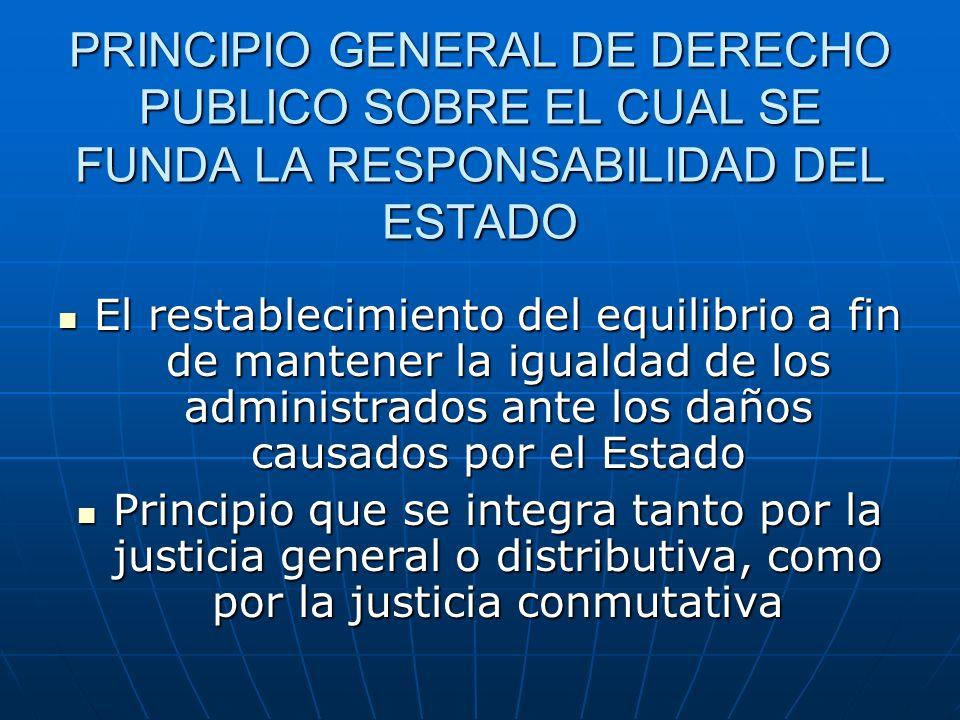 PRINCIPIO GENERAL DE DERECHO PUBLICO SOBRE EL CUAL SE FUNDA LA RESPONSABILIDAD DEL ESTADO