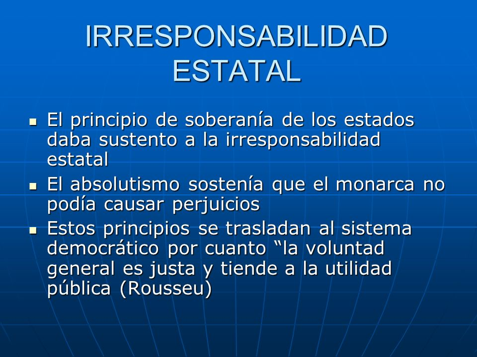 IRRESPONSABILIDAD ESTATAL