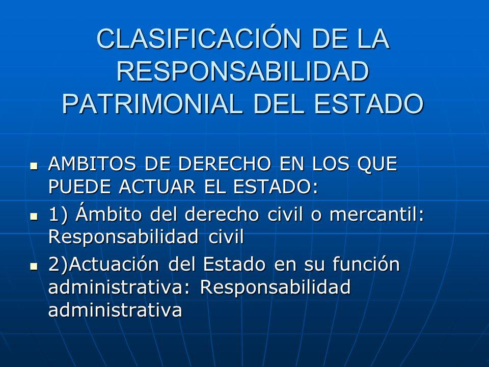 CLASIFICACIÓN DE LA RESPONSABILIDAD PATRIMONIAL DEL ESTADO