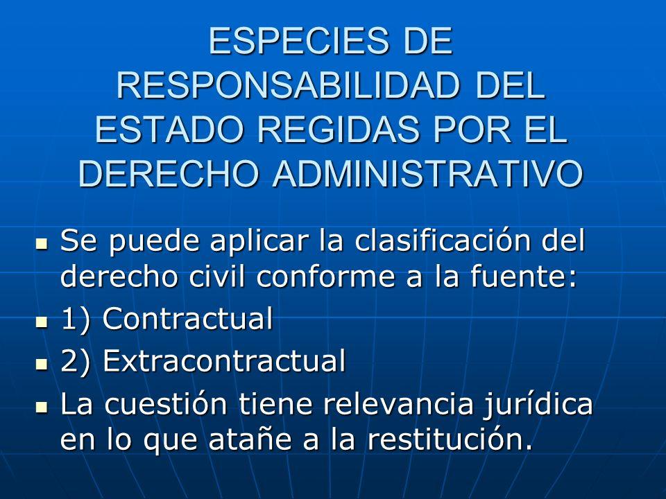 ESPECIES DE RESPONSABILIDAD DEL ESTADO REGIDAS POR EL DERECHO ADMINISTRATIVO