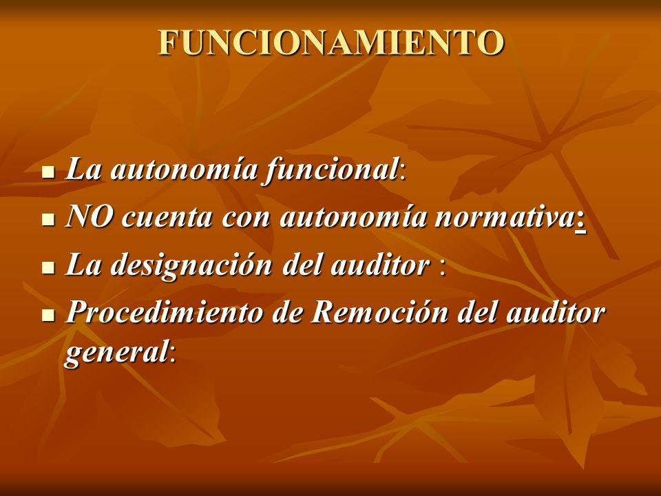 FUNCIONAMIENTO La autonomía funcional: