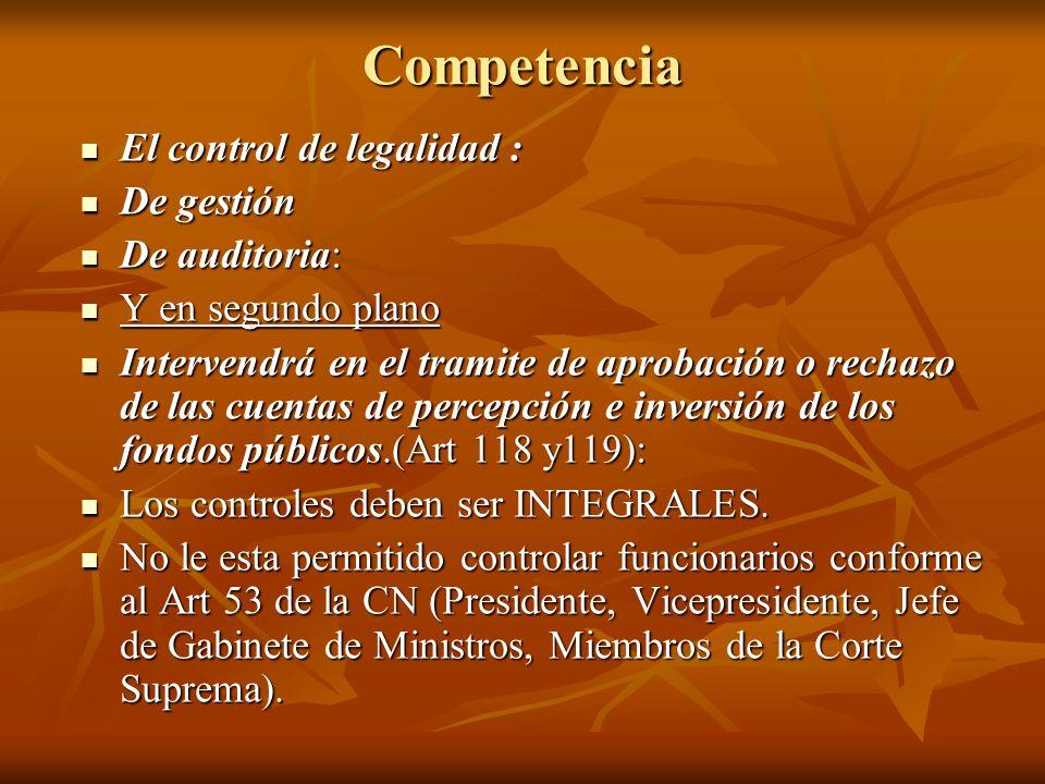Competencia El control de legalidad : De gestión De auditoria: