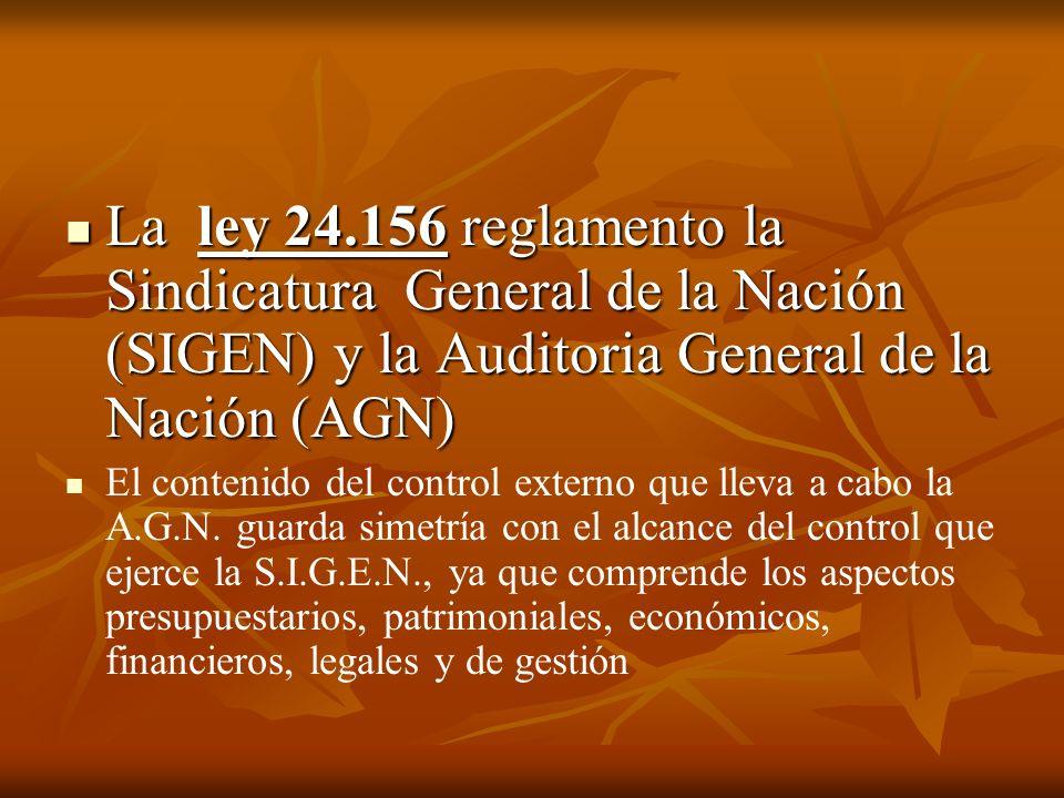 La ley 24.156 reglamento la Sindicatura General de la Nación (SIGEN) y la Auditoria General de la Nación (AGN)