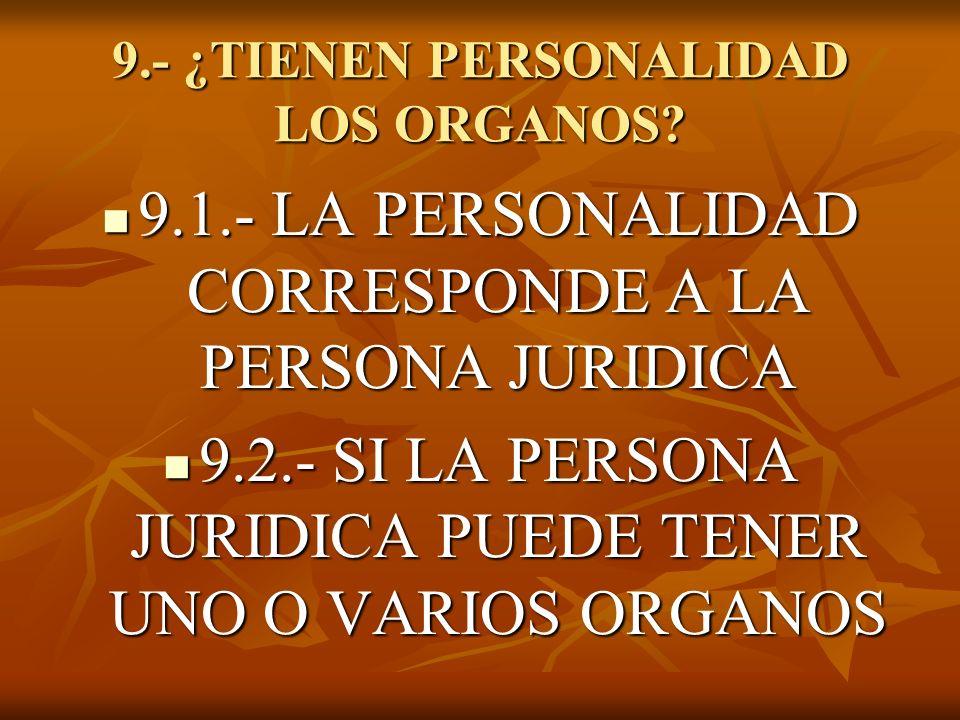 9.- ¿TIENEN PERSONALIDAD LOS ORGANOS