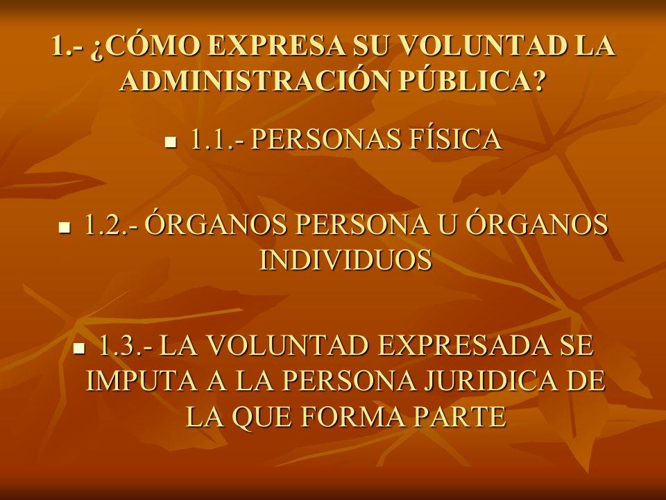 1.- ¿CÓMO EXPRESA SU VOLUNTAD LA ADMINISTRACIÓN PÚBLICA