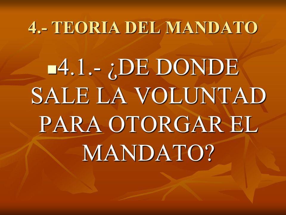 4.1.- ¿DE DONDE SALE LA VOLUNTAD PARA OTORGAR EL MANDATO