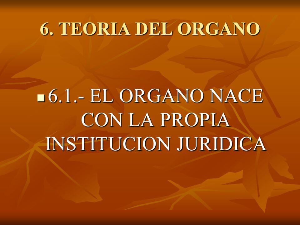 6.1.- EL ORGANO NACE CON LA PROPIA INSTITUCION JURIDICA