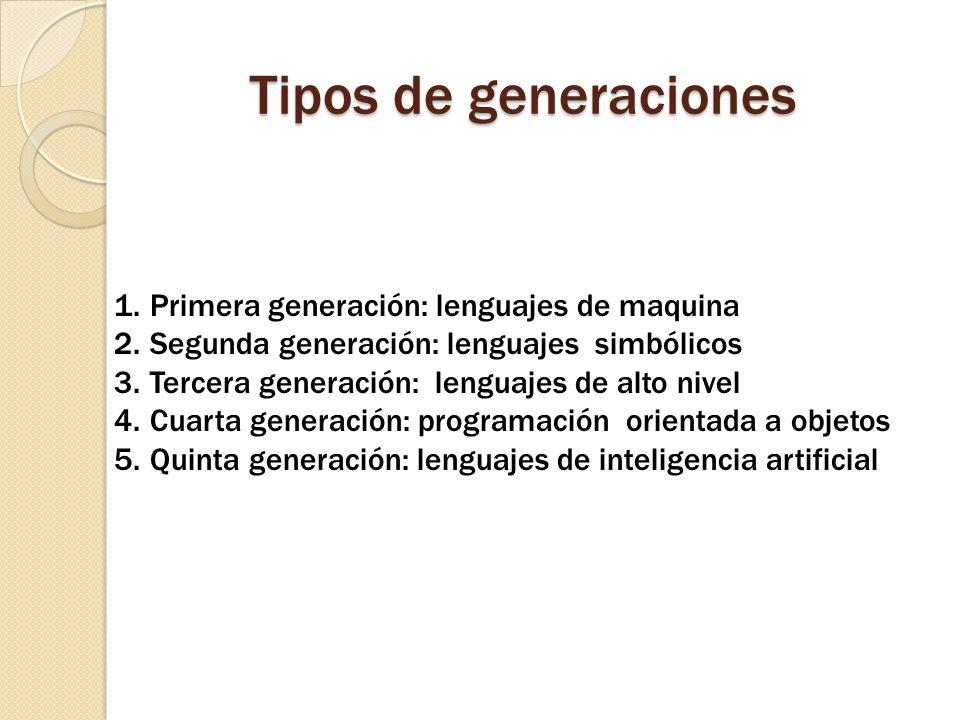Tipos de generaciones Primera generación: lenguajes de maquina