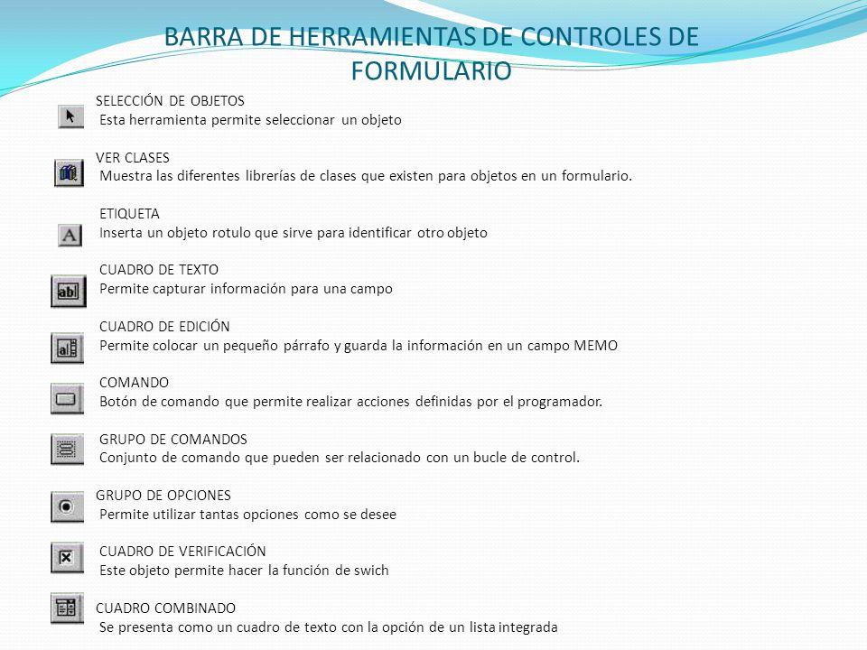 BARRA DE HERRAMIENTAS DE CONTROLES DE FORMULARIO