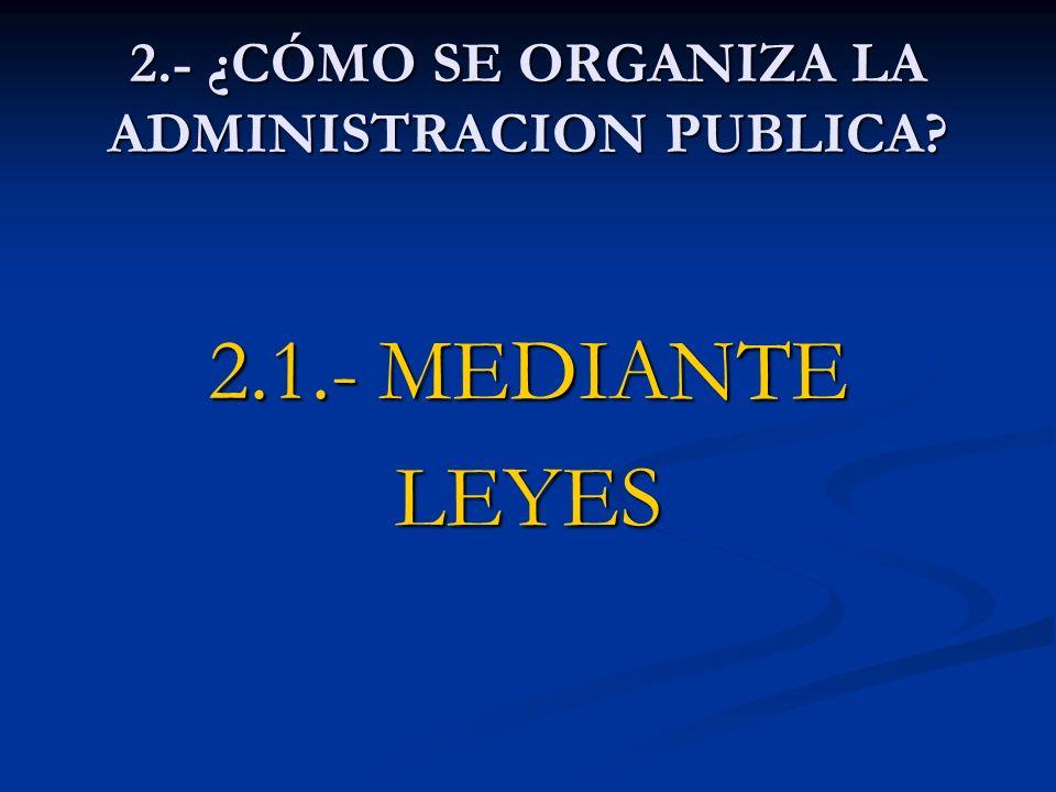 2.- ¿CÓMO SE ORGANIZA LA ADMINISTRACION PUBLICA