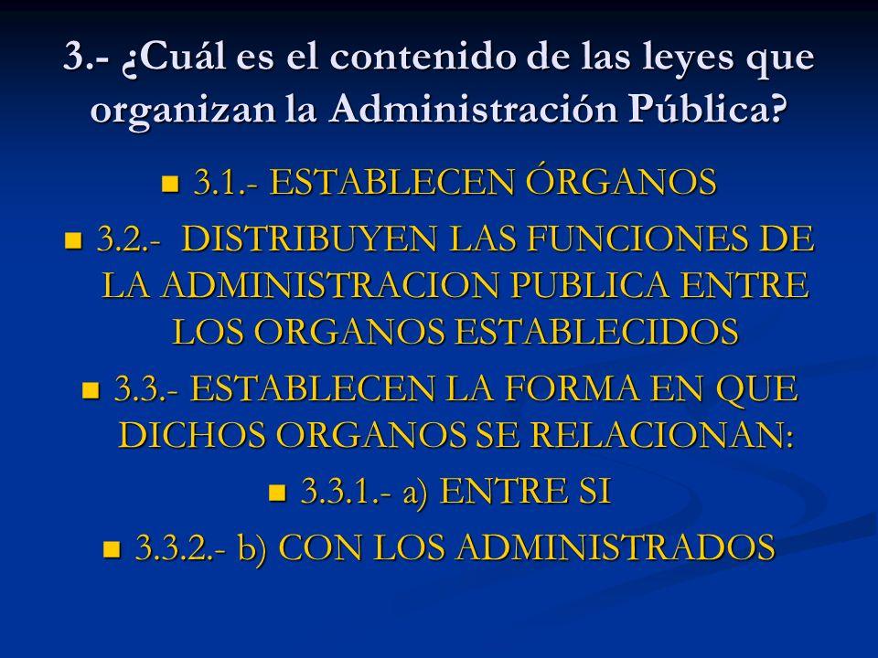 3.- ¿Cuál es el contenido de las leyes que organizan la Administración Pública