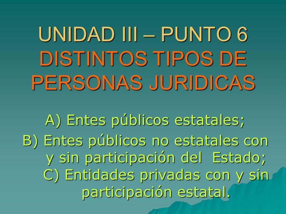 UNIDAD III – PUNTO 6 DISTINTOS TIPOS DE PERSONAS JURIDICAS