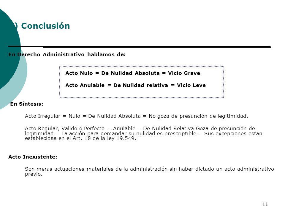 3) Conclusión En Derecho Administrativo hablamos de: