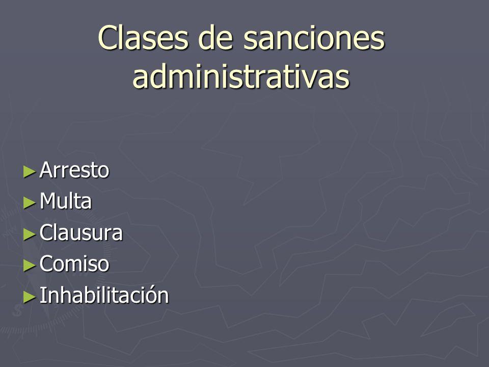 Clases de sanciones administrativas
