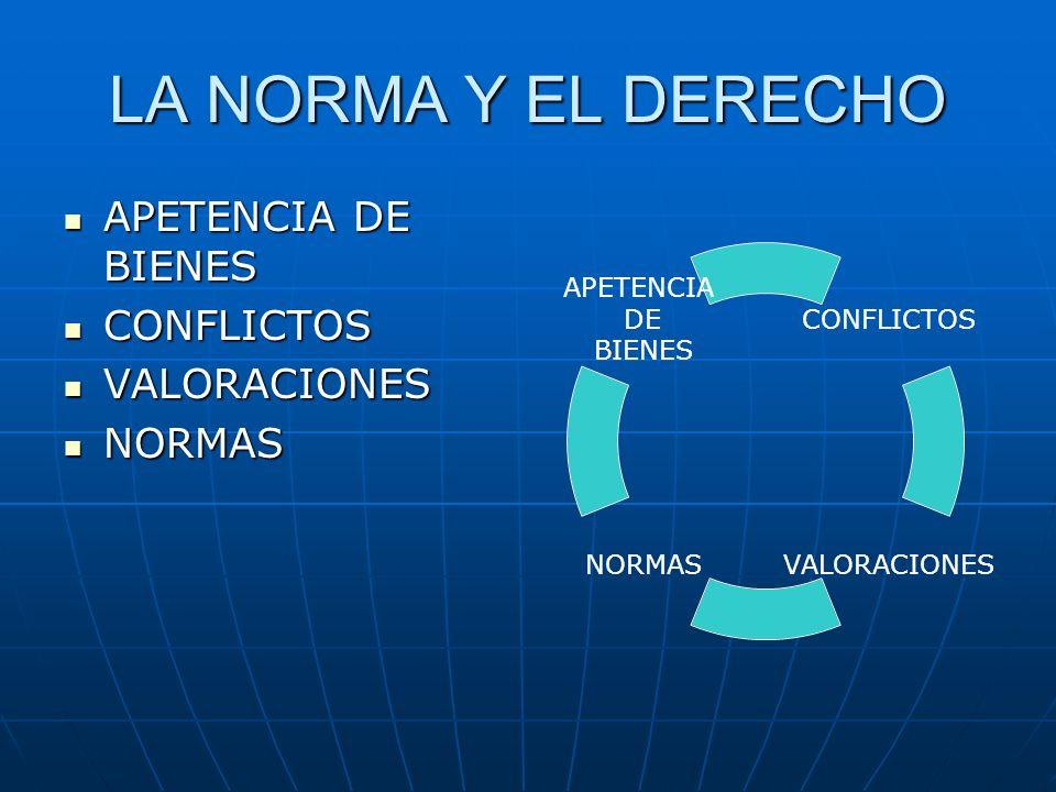 LA NORMA Y EL DERECHO APETENCIA DE BIENES CONFLICTOS VALORACIONES