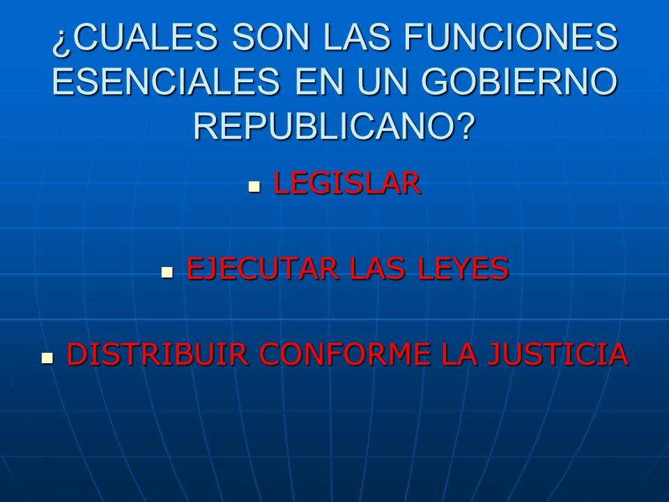 ¿CUALES SON LAS FUNCIONES ESENCIALES EN UN GOBIERNO REPUBLICANO