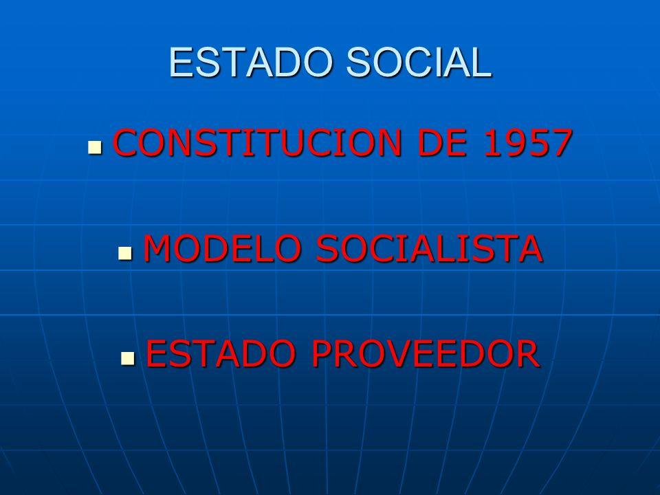 ESTADO SOCIAL CONSTITUCION DE 1957 MODELO SOCIALISTA ESTADO PROVEEDOR