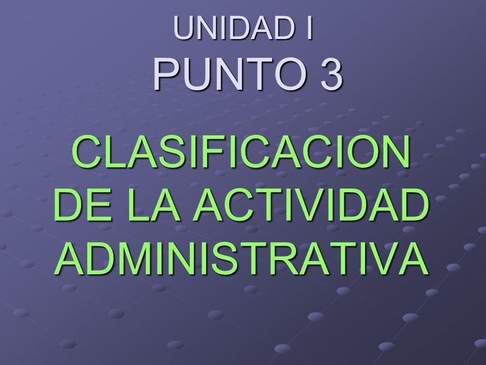 CLASIFICACION DE LA ACTIVIDAD ADMINISTRATIVA