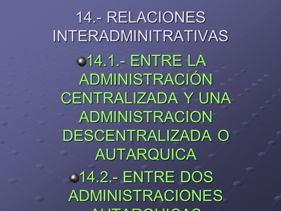 14.- RELACIONES INTERADMINITRATIVAS
