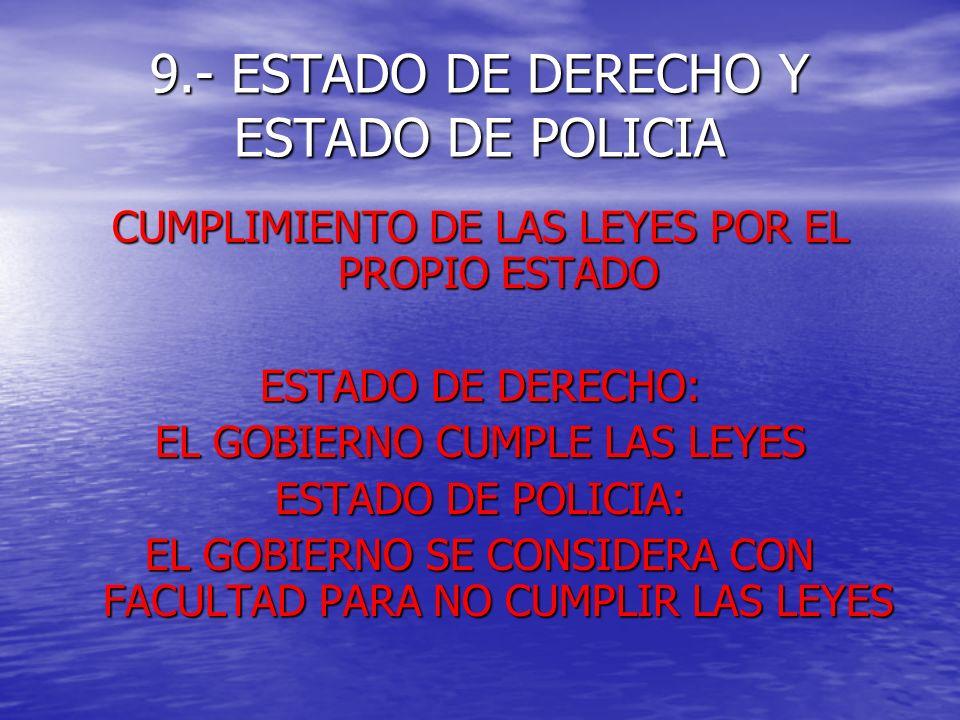 9.- ESTADO DE DERECHO Y ESTADO DE POLICIA
