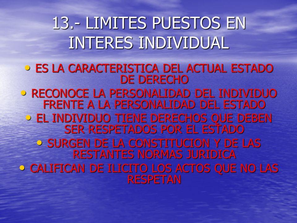13.- LIMITES PUESTOS EN INTERES INDIVIDUAL