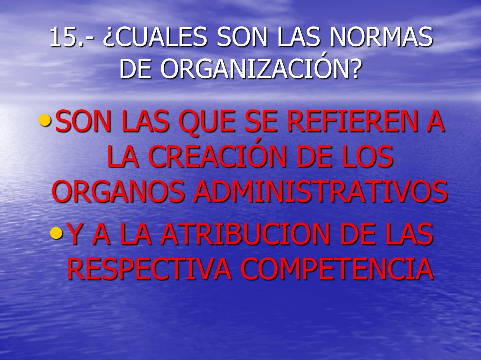 15.- ¿CUALES SON LAS NORMAS DE ORGANIZACIÓN