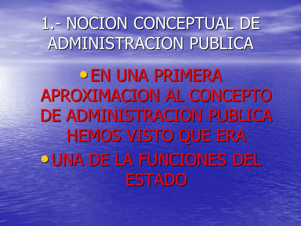 1.- NOCION CONCEPTUAL DE ADMINISTRACION PUBLICA
