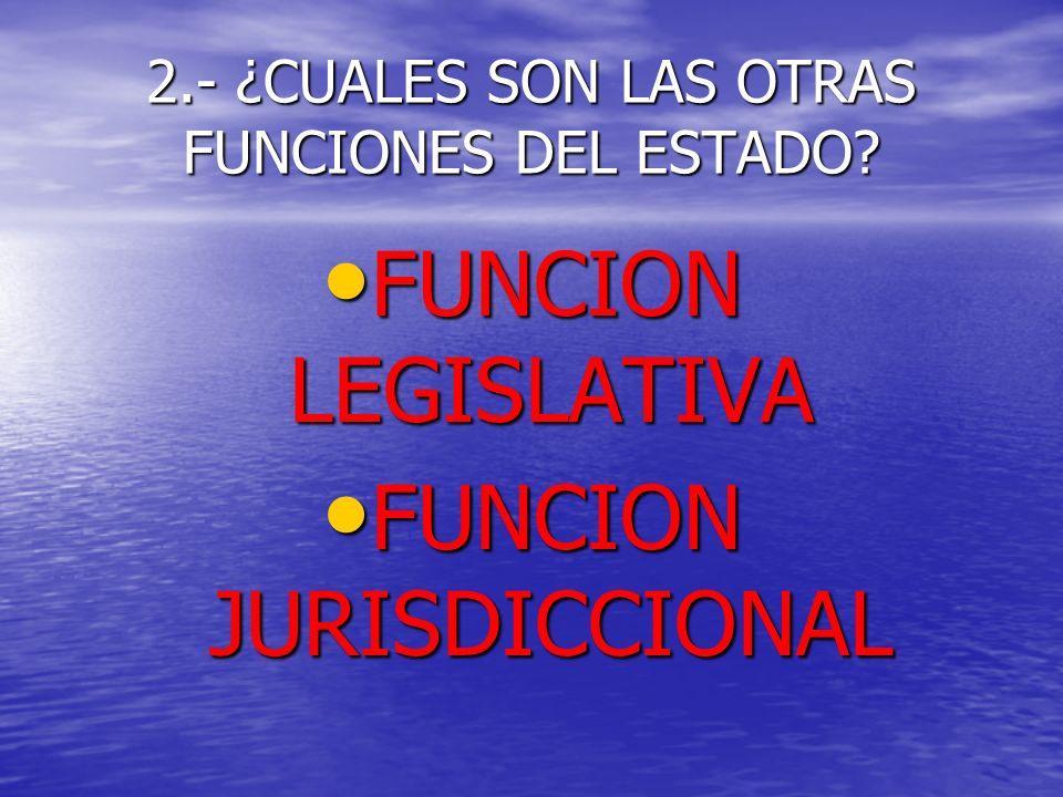 2.- ¿CUALES SON LAS OTRAS FUNCIONES DEL ESTADO