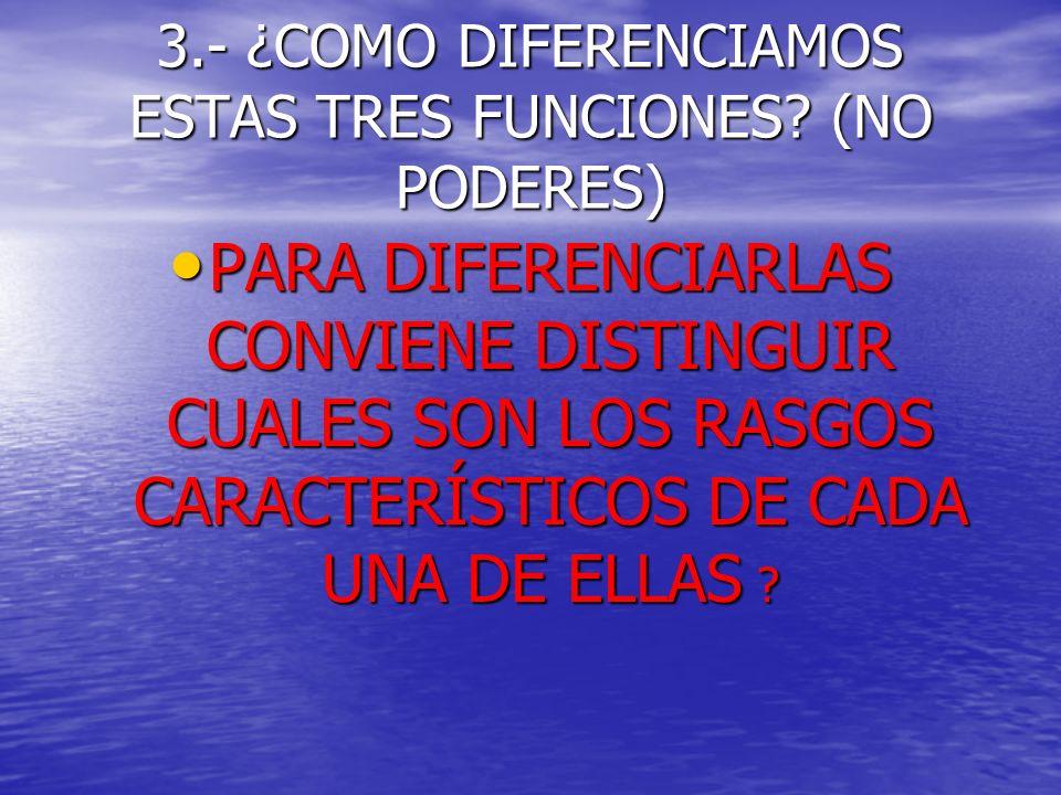 3.- ¿COMO DIFERENCIAMOS ESTAS TRES FUNCIONES (NO PODERES)