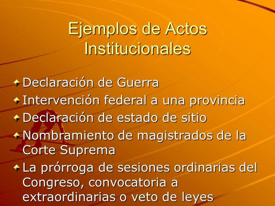 Ejemplos de Actos Institucionales