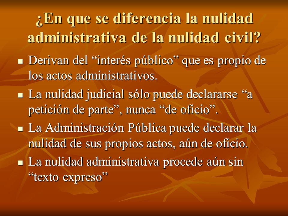 ¿En que se diferencia la nulidad administrativa de la nulidad civil