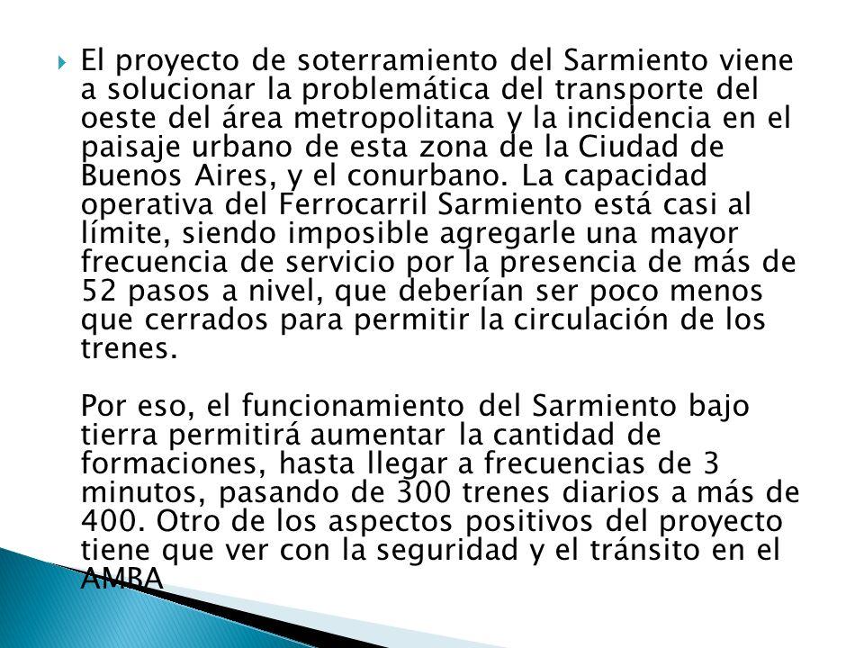 El proyecto de soterramiento del Sarmiento viene a solucionar la problemática del transporte del oeste del área metropolitana y la incidencia en el paisaje urbano de esta zona de la Ciudad de Buenos Aires, y el conurbano.