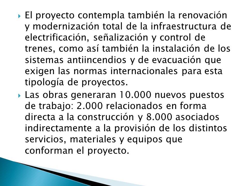 El proyecto contempla también la renovación y modernización total de la infraestructura de electrificación, señalización y control de trenes, como así también la instalación de los sistemas antiincendios y de evacuación que exigen las normas internacionales para esta tipología de proyectos.