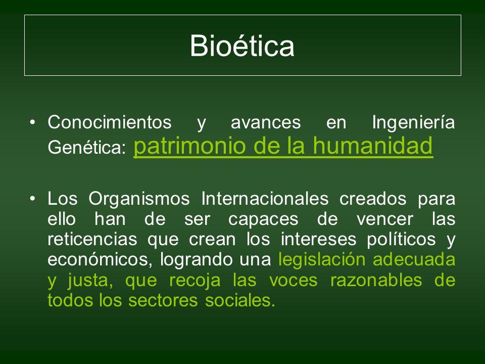 BioéticaConocimientos y avances en Ingeniería Genética: patrimonio de la humanidad.