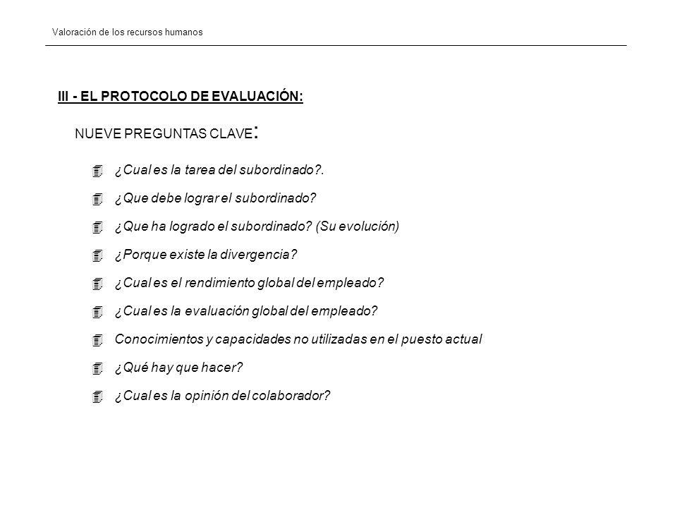 III - EL PROTOCOLO DE EVALUACIÓN:
