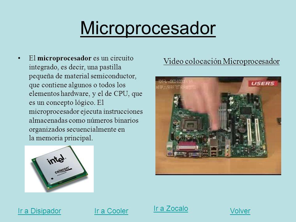 Microprocesador Video colocación Microprocesador