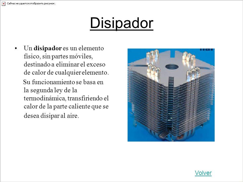 Disipador Un disipador es un elemento físico, sin partes móviles, destinado a eliminar el exceso de calor de cualquier elemento.