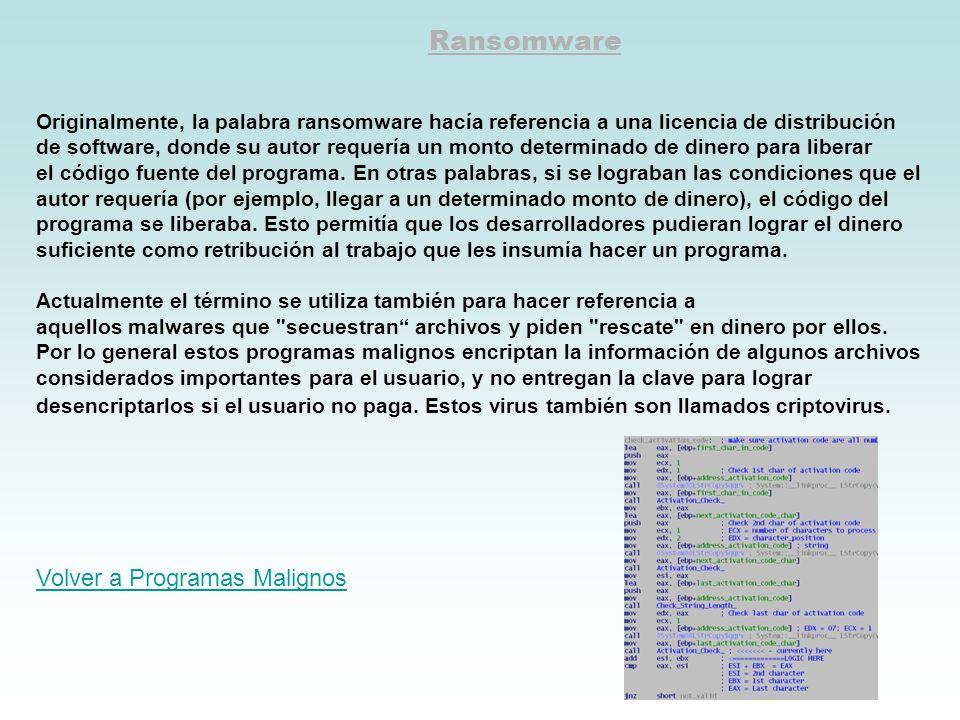 Ransomware Volver a Programas Malignos